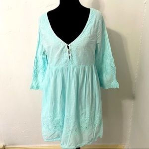 Simply Noelle Mint blue short tunic dress small